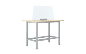 Büro Arbeitsplatz Corona Schutzscheibe Tisch